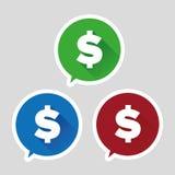 Знак доллара - дизайн вектора плоский Стоковые Изображения