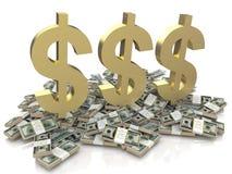 Знак доллара на деньгах иллюстрация вектора