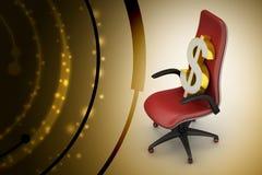 Знак доллара сидя исполнительный стул Стоковое фото RF