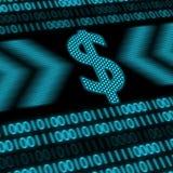 Знак доллара с бинарными кодами на предпосылке Стоковые Изображения