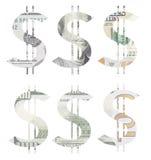 Знак доллара сделанный отрезать 100 долларовых банкнот Стоковые Изображения