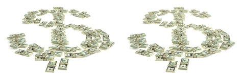 Знак доллара сделанный от долларовых банкнот Стоковая Фотография