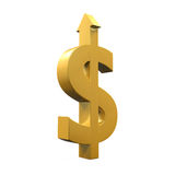 Знак доллара с расти вверх стрелка Стоковое Изображение RF