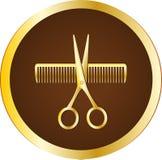 Знак парикмахера с ножницами и гребнем Стоковая Фотография