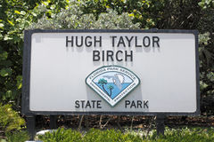 Знак парка штата березы Hugh Тейлора Стоковое фото RF