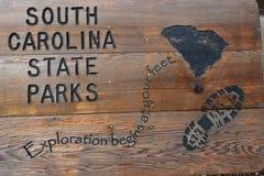 Знак парков штата Южной Каролины деревянный Стоковое Изображение