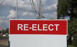Знак перевыборной кампании политический стоковые фотографии rf