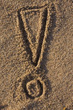 знак песка возгласа Стоковые Изображения RF