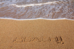 знак песка пляжа Стоковое Фото