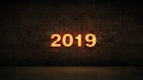 Знак письма света 2019 шатёр, Новый Год 2019 перевод 3d иллюстрация штока