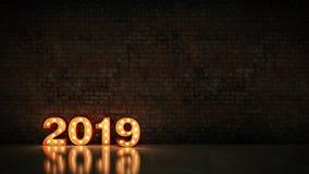 Знак письма света 2019 шатёр, Новый Год 2019 перевод 3d иллюстрация вектора