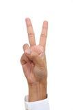 Знак победы изолированный на белой предпосылке Стоковая Фотография RF