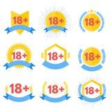 Знак под добавочным красным значком 18 18 также вектор иллюстрации притяжки corel Стоковое Изображение