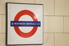 Знак поезда Хитроу терминальный Стоковая Фотография