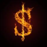знак пожара доллара Стоковые Фото