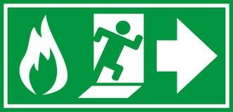Знак пожарного выхода иллюстрация штока