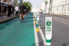 Знак поляка майны велосипеда на улице Стоковые Изображения