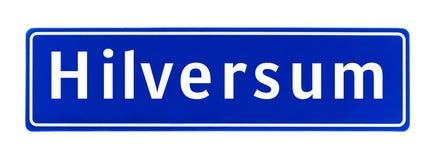 Знак предела города Хилверсюма, Нидерландов Стоковые Фотографии RF