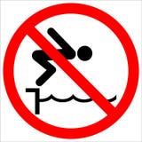 Знак предупредительной надписи не скачет бассейн иллюстрация вектора