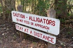 Знак предосторежения предупреждая о аллигаторах в парке штата загиба Brazos около Хьюстона, Техаса Стоковые Изображения