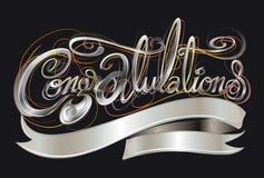 Знак приветствию цвета серебра шрифта поздравлениям классический Стоковое фото RF