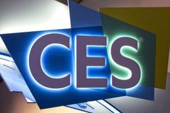 Знак приветствует посетителей до 2019 CES стоковые изображения rf