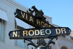 Знак привода родео, Лос-Анджелес, Калифорния, Соединенные Штаты Стоковое фото RF