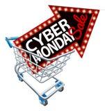 Знак продажи понедельника кибер вагонетки покупок Стоковое Фото
