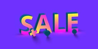 Знак продажи 3d цвета на фиолетовой предпосылке иллюстрация штока