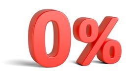Знак процентов красного цвета zero на белой предпосылке Стоковая Фотография RF