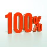 Знак процентов 100% красный Стоковые Изображения