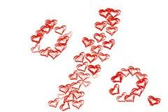 Знак процентов нарисованный от красных сердец для продажи на ` s d валентинки St Стоковые Изображения