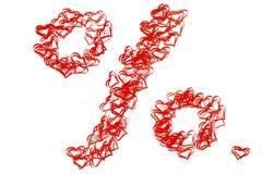 Знак процентов нарисованный от красных сердец для продажи на ` s d валентинки St Стоковые Изображения RF