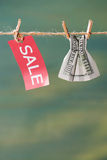 Знак продажи и 100 банкнот доллара США на веревке для белья Стоковое фото RF