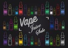 Знак продажи сока vape Vaping с иллюстрацией бутылок пара Стоковая Фотография