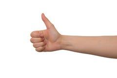 Знак работы правой руки молодой дамы хороший Стоковое фото RF