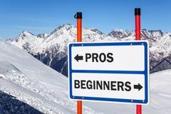 Знак развилки профи и beginners стоковые фотографии rf