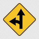 Знак разделения поворота налево на прозрачной предпосылке бесплатная иллюстрация
