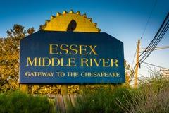 Знак реки Essex средний, в Essex, Мэриленд Стоковое фото RF