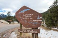 Знак рекреационной зоны каньона ElevenMile Стоковое Фото