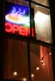 знак ресторана неона открытый Стоковая Фотография RF