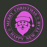 Знак рождества фиолетовый круглый, штемпель с силуэтом Санта Клауса смотрит на Стоковое Изображение RF