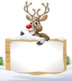 Знак рождества Snowy северного оленя Стоковые Изображения RF