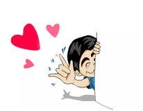 Знак руки влюбленности выставки человека шаржа Стоковая Фотография RF