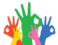 Знак рук радуги одобренные и вектор предпосылки Стоковая Фотография