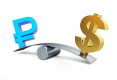 Знак русского рубля в балансе с знаком доллара Стоковые Фотографии RF