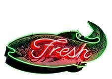 знак рыб свежий неоновый Стоковая Фотография RF