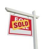 знак сбывания имущества домашний реальный продал белизну Стоковая Фотография