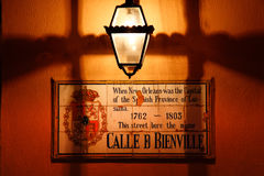 Знак света и улицы газа New Orleans Стоковые Фото