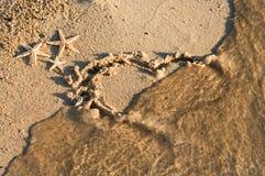 знак сердца пляжа Стоковое Фото
